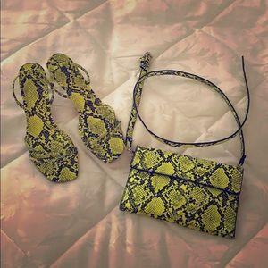 Lime Green Snake Print Heels with Matching Bag